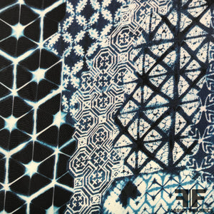 Abstract Printed Silk Charmeuse on Matte side - Blue/White