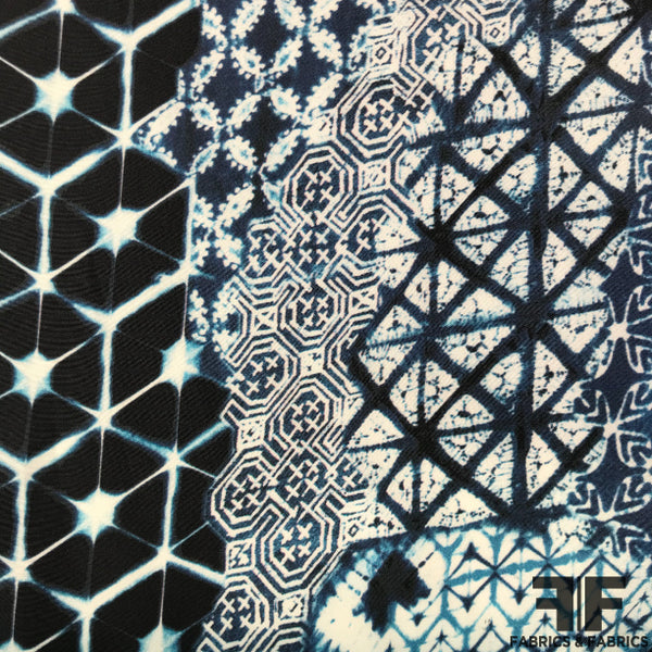 Abstract Printed Silk Charmeuse on Matte side - Blue/White - Fabrics & Fabrics NY