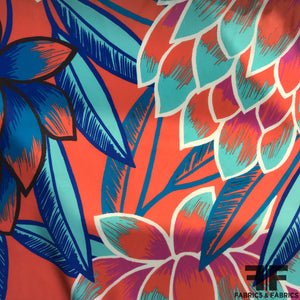 Floral Printed Silk Charmeuse on Matte side - Coral