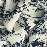 Foliage Printed Silk Charmeuse on Matte side - Blue