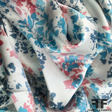 Floral Printed Silk Charmeuse on Matte side - White/Red/Blue