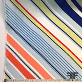 Striped Silk Charmeuse Panel - Multicolor