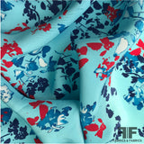Floral Printed Silk Charmeuse - Blue