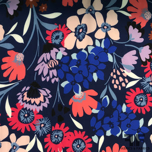 Abstract Floral Printed Silk Charmeuse on Matte side - Blue - Fabrics & Fabrics NY