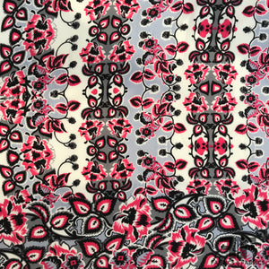 Striped Floral Printed Silk Charmeuse on Matte side - Pink
