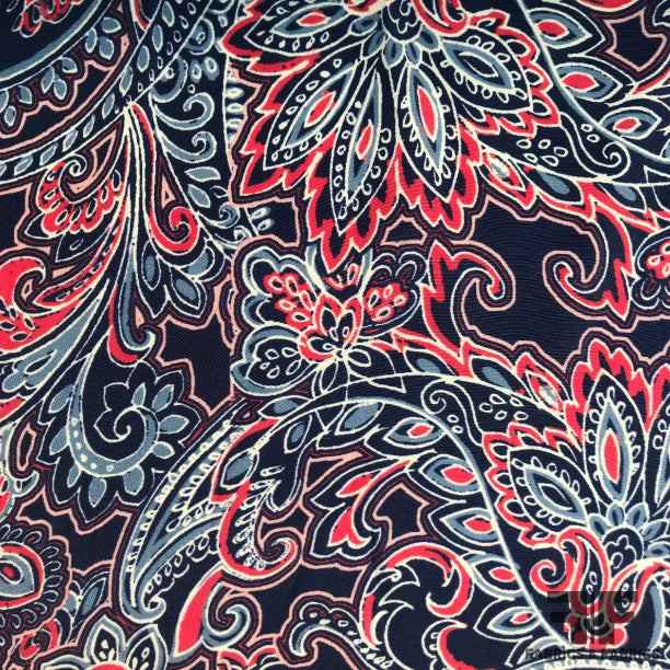 Silk Charmeuse Fabric Red Paisley