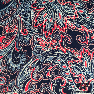 Paisley Printed Silk Charmeuse - Blue/Red
