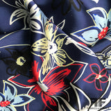 Graphic Floral Printed Silk Charmeuse - Navy/Multicolor