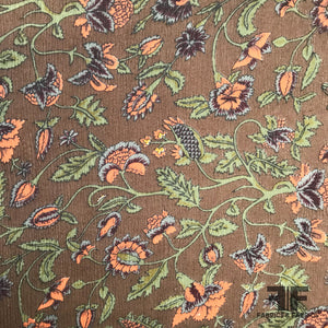 Floral Paisley Printed Crinkled Silk Chiffon - Brown/Orange/Green - Fabrics & Fabrics