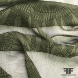 Medallion Large Scale Printed Silk Chiffon - Green - Fabrics & Fabrics