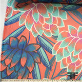 Graphic Floral Printed Silk Chiffon - Orange