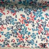 Abstract Floral Printed Silk Chiffon - Red/White/Blue - Fabrics & Fabrics NY
