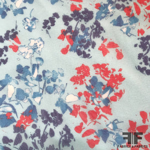 Abstract Floral Printed Silk Chiffon - Blue - Fabrics & Fabrics NY