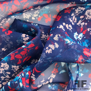 Abstract Floral Printed Silk Chiffon - Navy