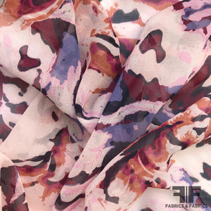 Abstract Floral Printed Silk Chiffon - Light Pink
