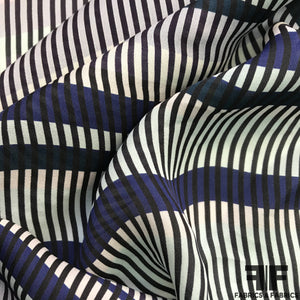 Striped Printed Silk Georgette - Blue/Black/White
