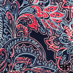 Paisley Printed Silk Georgette - Red/Blue