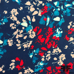 Floral Printed Silk Georgette - Blue/White/Red