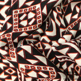 Geometric Printed Silk Georgette - Black/White/Orange