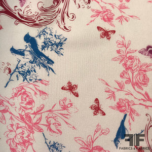 Birds & Butterly Floral Printed Silk Georgette - Pink