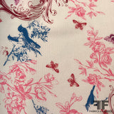 Birds & Butterfly Floral Printed Silk Georgette - Pink - Fabrics & Fabrics NY