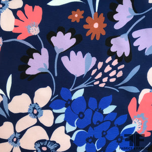 Bold Floral Printed Silk Georgette - Blue - Fabrics & Fabrics NY