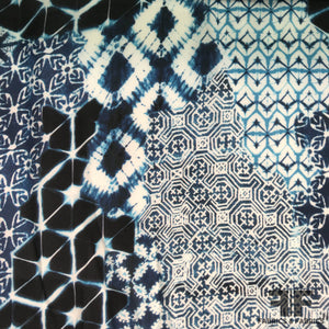 Shibori Printed Silk Georgette - Blue/White