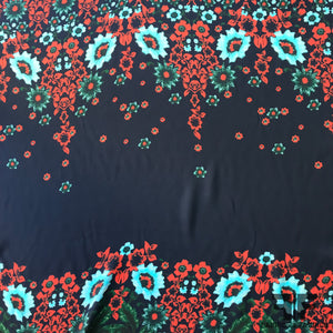 Bold Floral Printed Silk Georgette Panel - Blue - Fabrics & Fabrics NY