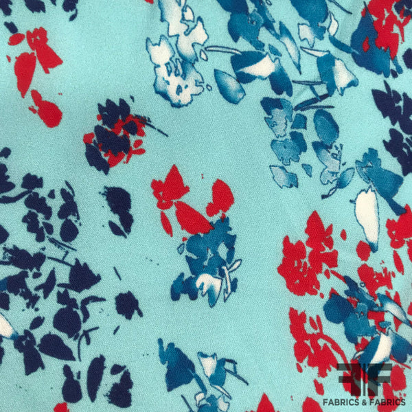 Floral Printed Silk Georgette - Blue/Red