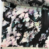 Abstract Floral Printed Silk Georgette - Black/Pink/White - Fabrics & Fabrics NY