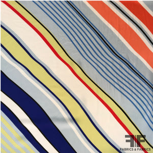 Striped Silk Georgette Panel - Multicolor