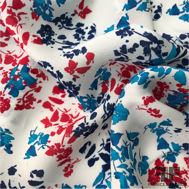 Abstract Floral Printed Silk Georgette - White - Fabrics & Fabrics NY