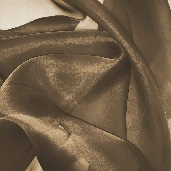 Hazelnut Brown Silk Organza fabric  - Fabrics & Fabrics
