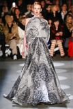 Christian Siriano Italian Double-Layered Abstract Circles Printed Organza with Metallic Novelty - Grey / Black / Metallic