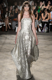Christian Siriano Italian Metallic Oversized Sun Medallion Fil Coupe Organza Novelty - Silver / Gold