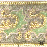 Embroidered & Beaded Vintage Ribbon Trim - Green - Fabrics & Fabrics NY