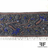 Floral Heavy Embroidered & Beaded Trim - Navy/Gold