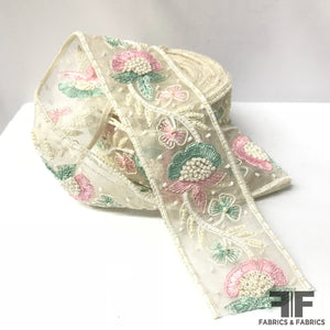 Floral Beaded & Embroidered Trim - Off-White , Mint, Pink - Fabrics & Fabrics NY