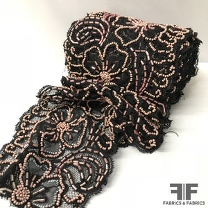 Beaded Floral Lace Trim - Black/Pale Pink