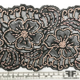 Beaded Floral Lace Trim - Black/Pale Pink - Fabrics & Fabrics NY