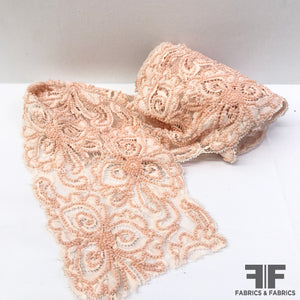 Beaded Floral Lace Trim - Pale Pink - Fabrics & Fabrics NY