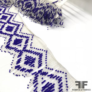 Beaded Geometric Fringe Trim - Blue/White - Fabrics & Fabrics NY