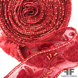Floral Bloom Sheer Organza Ribbon Trim - Red