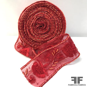 Floral Bloom Sheer Organza Ribbon Trim - Red - Fabrics & Fabrics NY