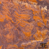 Italian Abstract Floral Burnout Velvet - Orange/Lilac