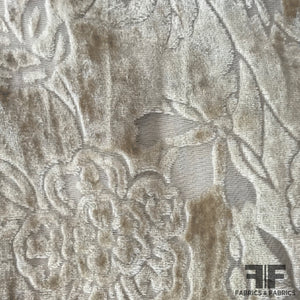 Abstract Floral Burnout Velvet - Beige