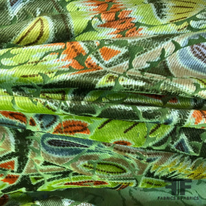 Paisley Burnout Velvet - Green/Multicolor