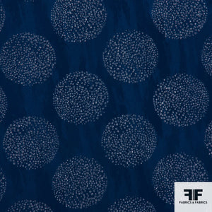 Italian Novelty Silk fabric - Blue circles