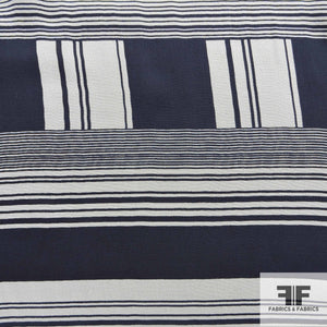 Striped Printed Silk Chiffon - Blue/White