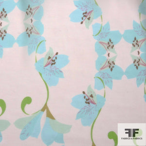 Lily Floral Printed Silk Chiffon -Turquoise/Baby Pink